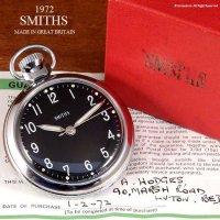 貴重!1972年 SMITHS/スミス 懐中時計 SV/BK ギャランティー・BOX付