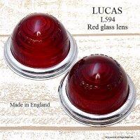 当時物 LUCAS L594 Red glass lens Set/ルーカス パークランプレンズ レッド 2個 セット メッキリム付