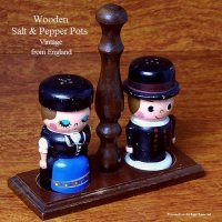 ビンテージ ウッディ ソルト&ペッパー スタンド SET/Vintage Wooden Salt & Pepper pots