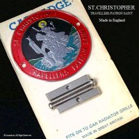 当時物 セント・クリストファー ST.CHRISTOPHER グリルバッジ デッドストック パッケージ入り RED