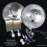 貴重!当時物 デッドストック LUCAS 700 HEADLAMP ポジション付 松明 たいまつ ヘッドライト&バルブ・ホルダー フルセット