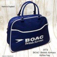 1974年 BOAC × British Airways Airline bag Boston/Wネーム エアライン ボストンーバッグ デッドストック