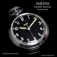 1970's SMITHS 懐中時計 SV/BK Sweep Seconds