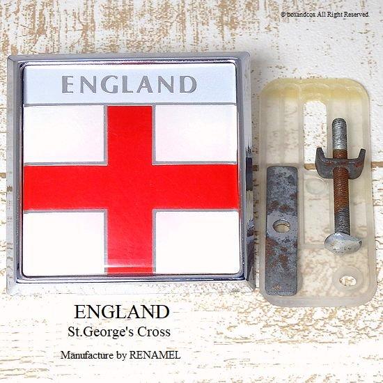 当時物 ENGLAND/イングランド カー グリルバッジ スクエアー RENAMEL製