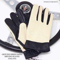 英国 ビンテージスタイル ドライビンググローブ シープスキンナッパ&メッシュ BLACK
