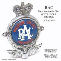 貴重!1950's RAC MOTOR SPORT MEMBER/Royal Automobile Club カーバッジ オリジナルコンディション フィティング付