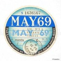 1969年 MORRIS / モーリス TAX DISC タックスディスク(MAY)