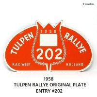 1958年 TULPEN RALLYE ORIGINAL PLATE ENTRY NO.202/チューリップラリー オリジナルラリープレート エントリー