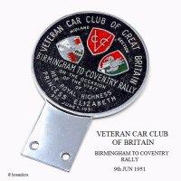 貴重!1951年 VETERAN CAR CLUB OF BRITAIN BIRMINGHAM TO COVENTRY RALLY/ベテラン カークラブ オブ ブリテイン ラリーカーバッジ 未使用