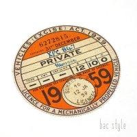 1959年 MORRIS/モーリス TAX DISC タックスディスク(DEC)
