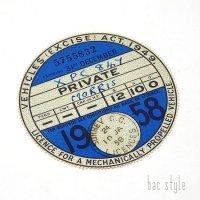 1958年 MORRIS/モーリス TAX DISC タックスディスク(DEC)