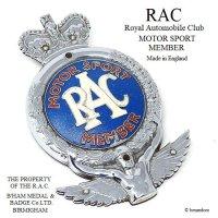 貴重!1950's RAC MOTOR SPORT MEMBER/Royal Automobile Club グリルバッジ オリジナルコンディション フィティング付