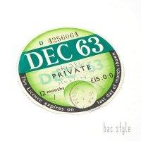 1963年 AUSTIN/オースチン TAX DISC タックスディスク(DEC)