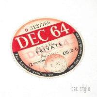1964年 AUSTIN/オースチン TAX DISC タックスディスク(DEC)