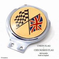 1960's UNION JACK×CHECKERED FLAG CAR BADGE/ユニオンジャック&チェッカーフラッグ カーバッジ RENAMEL製