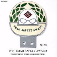 1964年 ROAD SAFETY AWARD by SHELL B.P No.222 カーバッジ エクセレントコンディション