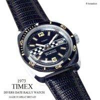 1973 Vintage TIMEX  DIVERS DATE CHECKERED/英国 ビンテージ タイメックス ダイバーズ デイト チェッカー 腕時計 オーバーホール済