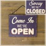 アンティーク ウッドプレート OPEN&CLOSED(オープン クローズ)