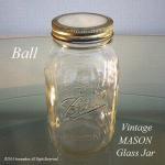 Ball社 ビンテージ メイソン ガラスジャー 瓶 Wキャップ