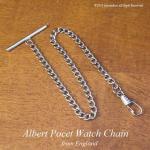 英国 懐中時計用アルバートチェーン クローム