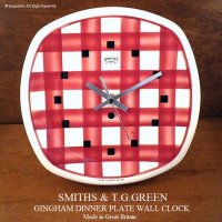 1950's T.G.GREEN GINGHAM Plate Wall Clock by SMITHS/スミス ギンガム ウォールクロック 壁掛け時計 RED