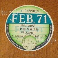 1971年 HILLMAN / ヒルマン TAX DISC タックスディスク(FEB)