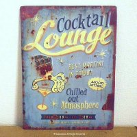 Lounge Cocktail アンティーク ティン・サインプレート 看板