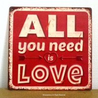 ALL you need is LOVE アンティーク ティン・サインプレート 看板