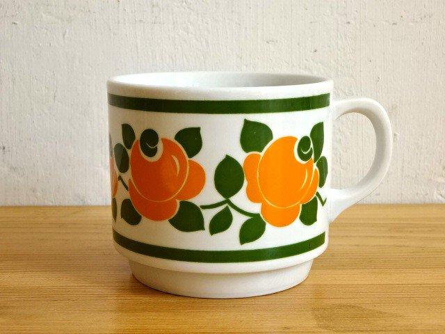 ○●レトロ花柄マグカップ 緑●○