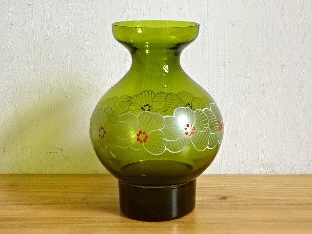 ○●モスグリーンのガラスの花瓶●○