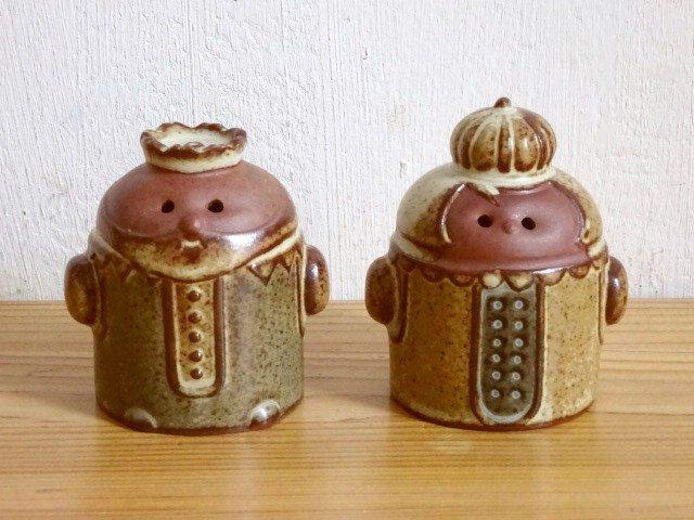 ○●陶器の塩コショウ入れ 王様&女王様●○