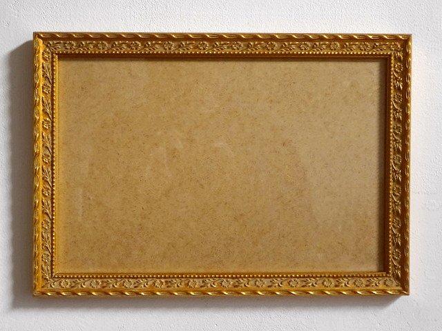 ○●木製フレーム 金塗 花彫模様 33cm×23cm●○