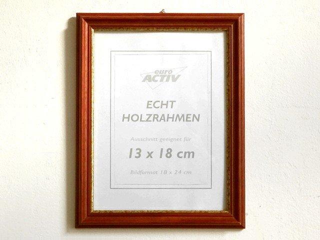 ○●木製フレーム 赤茶×金ライン 28cm×22cm●○