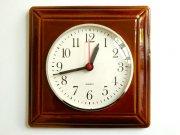 ○●陶器の壁掛け時計 飴茶色●○