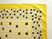 ○●レトロスカーフ 黄色ブロック柄●○