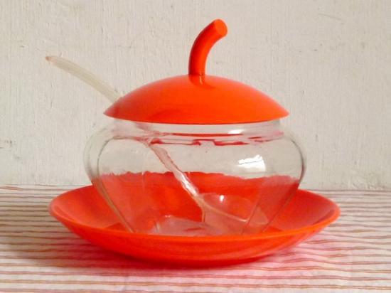 ○●オレンジのフタのガラスのシュガーポット●○