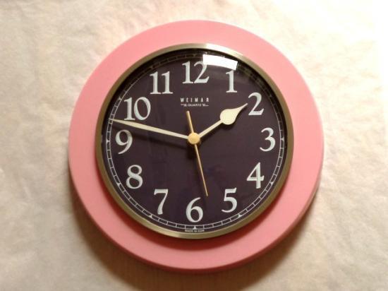 ○●DDR 壁掛け時計 ピンク×あずき●○