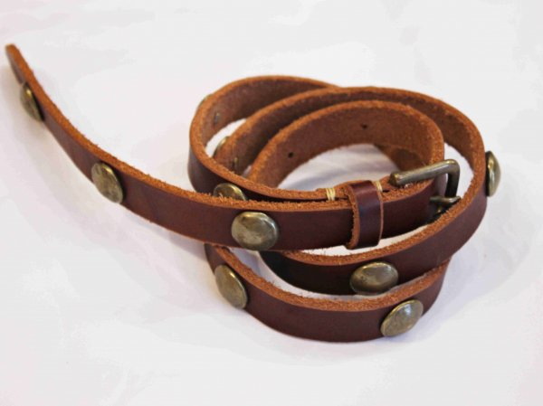 CONCHO LEATHER BELT 【BROWN】 / Nasngwam. ナスングワム