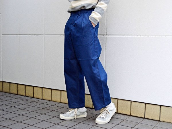 WIDE TUCK TROUSERS 【LIGHT-INDIGO】 / TEXTURE WE MADE