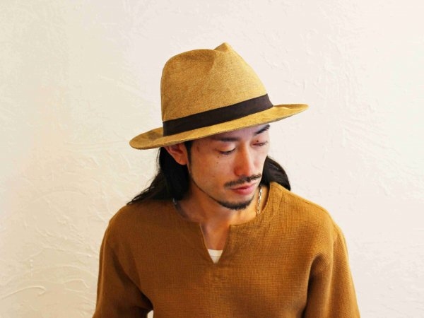 Long brim Paper Cross mannish HAT 【MOCHA】 / morno モーノ