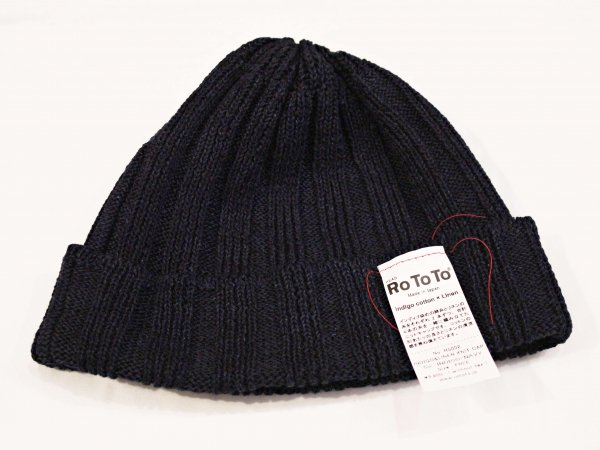 INDIGO&LINEN KNIT CAP 【NAVY】 /  RoToTo<img class='new_mark_img2' src='//img.shop-pro.jp/img/new/icons1.gif' style='border:none;display:inline;margin:0px;padding:0px;width:auto;' />