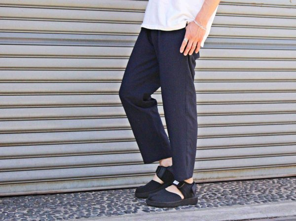 強撚STRETCH EASY PANTS 【NAVY】 / LAMOND