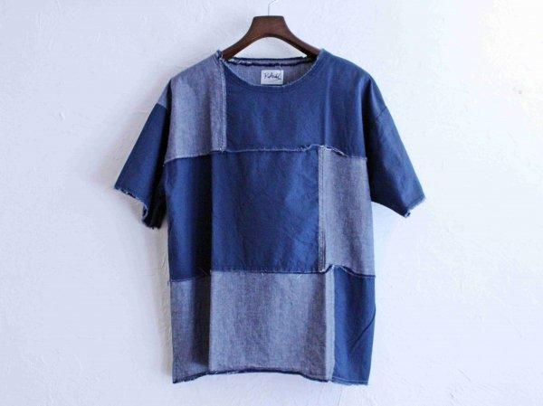 crazy switching cloth T-shirt 【navy/navy】 / ReAdd