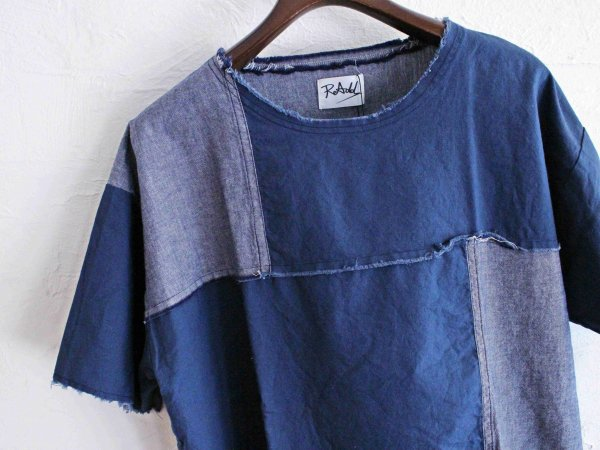 crazy switching cloth T-shirt 【navy/navy】 / ReAdd