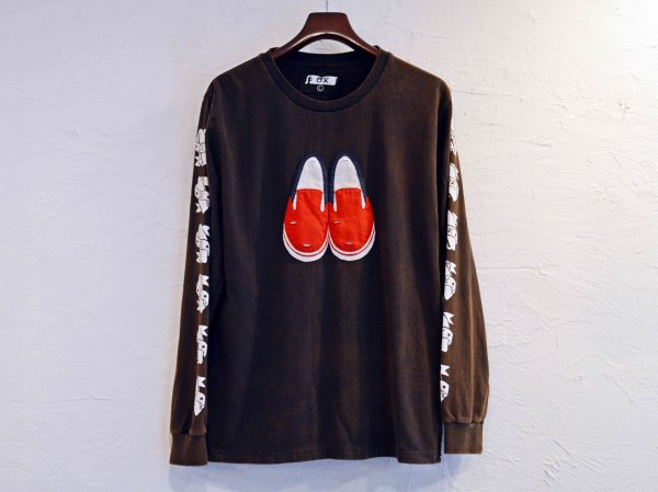 Slip-on L/S TEE 【BLACK×RED】 / O.K.