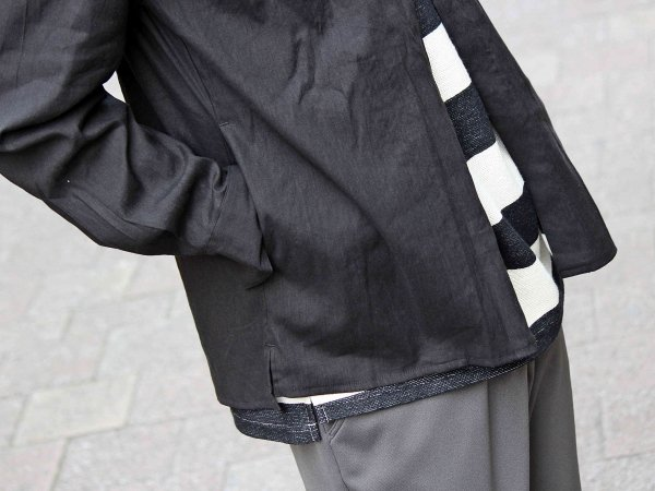 LINEN SHIRT CARDIGAN JKT 【BLACK】 / LAMOND ラモンド