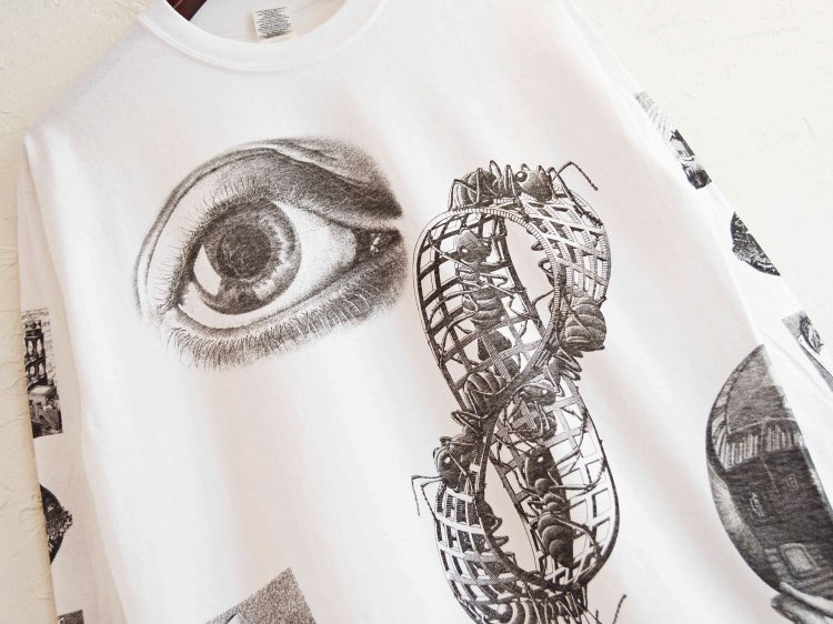 SEE ANTS & HANDS L/S TEE 【WHITE】 / MC ESCHER