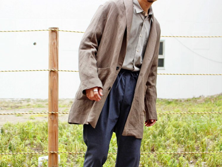LINEN RAYON WASHABLE COAT 【KHAKI】 / LAMOND