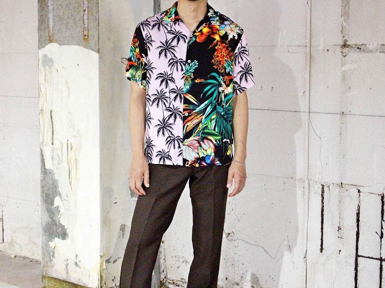 KAILUA S/S SHIRTS 【BLACK×PINK】 / Nasngweam.