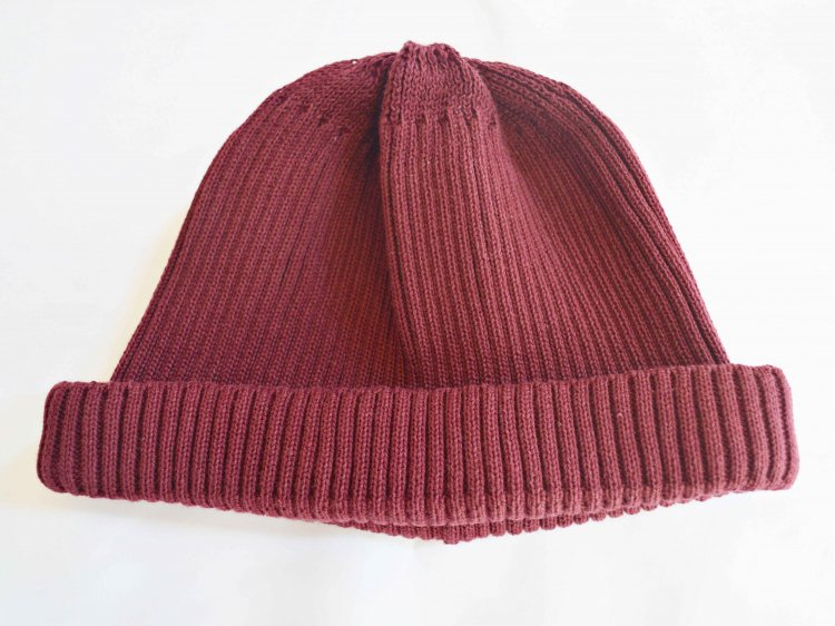 COTTON ROLL UP BEANIE 【BURGUNDY】 / RoToTo